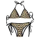 Cool Animal Leopard Print Bikini Traje de baño de Verano para Mujer Top Triangular Bikinis Traje de baño Sexy Conjunto de 2 Piezas