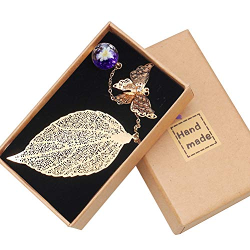 pengxiaomei Metal Leaf Bookmark, with 3D Butterfly and Glass Beads Eternal Dry Flower Pendant Classical Exquisite Feather Bookmark for Reader, Woman and Kids(Golden Leaf Purple Ball)