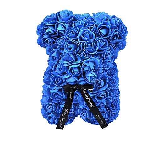 Valentine Creative Rose Bear Gift Hecho a Mano Lindo Jabón Rosas Bear Flores Artificiales Toy Bear para Regalo de cumpleaños Regalo de día Especial (Blue)