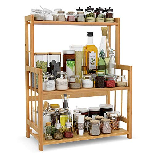 XHCP 3-stopniowy regał na przyprawy, kuchenny, łazienka, blat roboczy, organizer do przechowywania, bambusowy stojak na przyprawy, stojak na pojemniki z regulowanym regałem, Bam