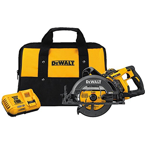 DEWALT FLEXVOLT 60V MAX Circular Saw Kit, 7-1/4-Inch, Worm Style, 9.0Ah Battery (DCS577X1)