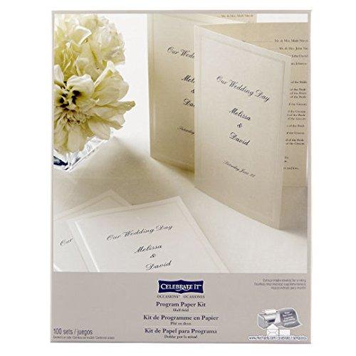 Wedding Occasions Half-Fold Program Paper Kit, Ivory by Celebrate It