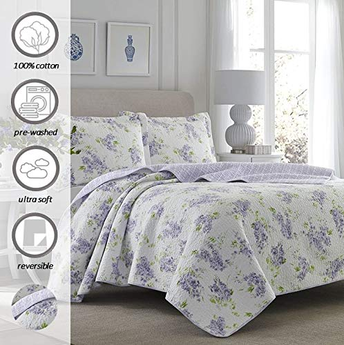 Laura Ashley Home | Keighley Collection | Luxury Premium Ultra Soft Quilt Coverlet, Comfortable 3 Piece Bedding Set, All Season Stylish Bedspread, King, Lilac