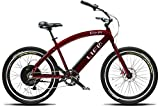 Islander 400 26' Beach Cruiser Electric Bike - Life EV E-Bike - All-Around Bicycle Burgundy Adult Unisex - Ebike Bicycle Cruiser 20 MPH top Speed with Removable 14.25ah Lithium Battery