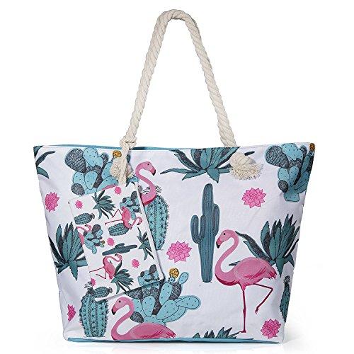 Diealles Bolsa de Playa de Lona Mujer Grande, Bolsa de Playa Grande con Cremallera para Mujeres y Niñas - Style1