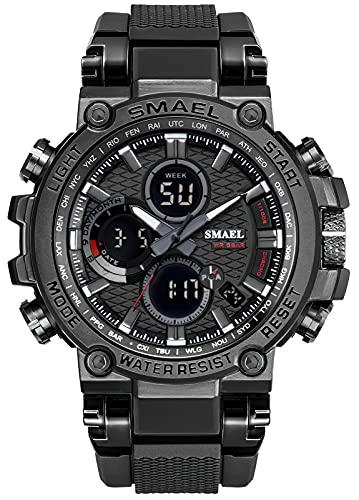 KDM Reloj Hombre Digitale Militares Deportivos Cronometro LED 50M Impermeable Relojes Hombre Multifuncion Esfera Grande Relojes Analógicos Digitales Hombre Alarma Fecha Ejercito Negro