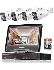 BNT 防犯カメラ 200万画素 モニター付きタイプ POE給電カメラ 4CH 1080P 暗視撮影 動体検知 遠隔監視 IP67防水 屋外用