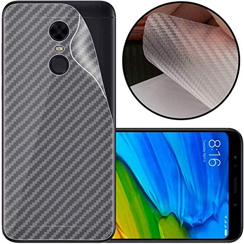 S-Softline Ultra Thin Slim Fit 3M Clear 3D Carbon Fiber Back Skin Rear Screen Guard Protector Sticker Protective for Redmi Note 5 (Transparent)