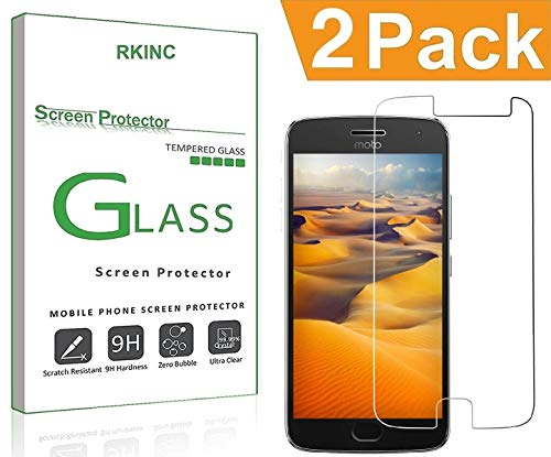RKINC Screen Protector for Motorola Moto G5 Plus, Tempered Glass Screen Protector[0.3mm, 2.5D][Bubble-Free][9H Hardness][Easy Installation][HD Clear] for Motorola Moto G5 Plus(2 Pack)
