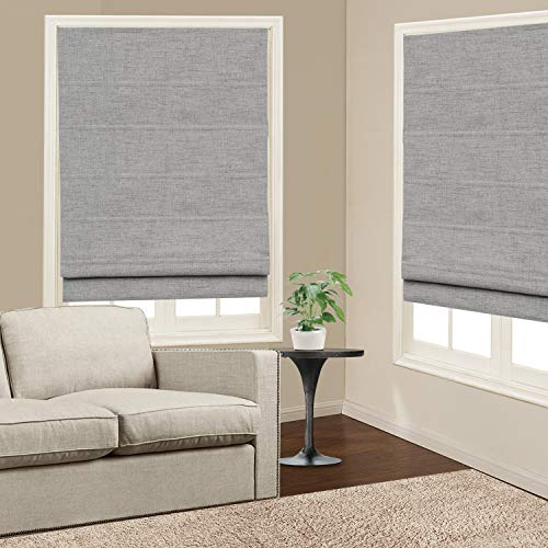 1 Piece Home White 24 W x 72L Inches Artdix Roman Shades Blinds Window Shades Doors Kitchen Living Room Blackout Solid Thermal Fabric Custom Made Roman Shades for Windows