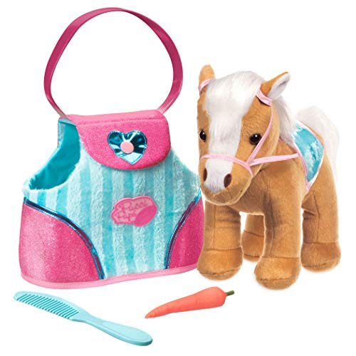 Pucci Pups by Battat – Beige Horse with Blue Stripes and Pink Pony Bag