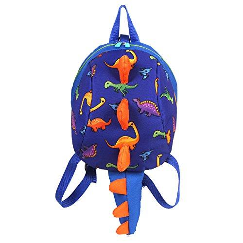 ZLMBAGUS 3-6 Year Old Little Kids Toddler Backpack Dinosaur Shaped Shoulder Satchel Bag with Safety Leash Anti-lost Daypack Purse Blue