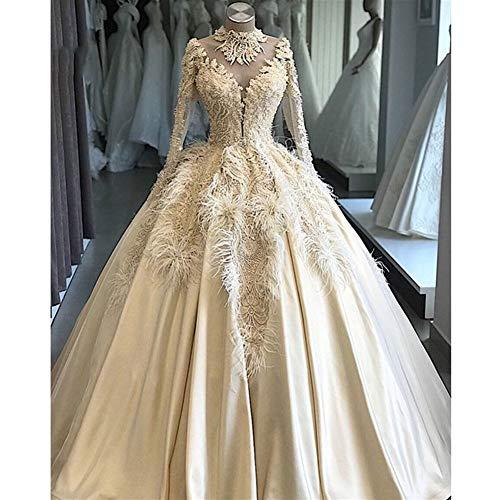 QING XIN-1225 Abiti da Sposa Lusso Elegante Piume Personalizzata Pizzo Perline Abito da Sposa Abiti di Nozze Illusion Robe de mariée Abiti da Cerimonia (Color : Ivory, US Size : 6)