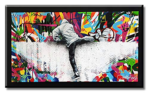 1 Piece Modern Creative Graffiti Canvas Wall Art Banksy Colorful Street Art Painting Pop Art Prints Home Decoration Artwork for Bedroom Office Stretched and Framed Ready to Hang