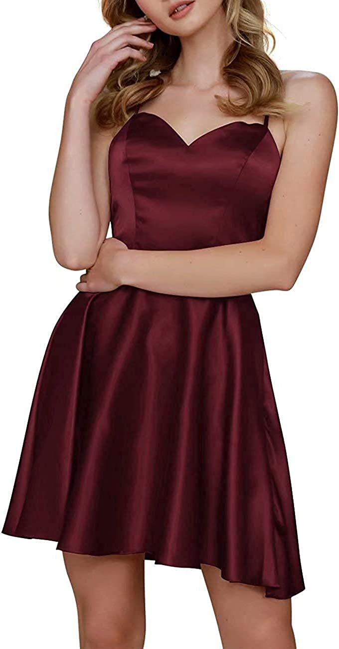 King Noiva Spaghetti Straps Homecoming Dresses for Juniors Sweetheart SatinA line Short Prom Party Gowns