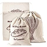 Linen Bread Bags, Pack of 4 Large and Extra Large Natural Unbleached Bread Bags, Reusable Drawstring...