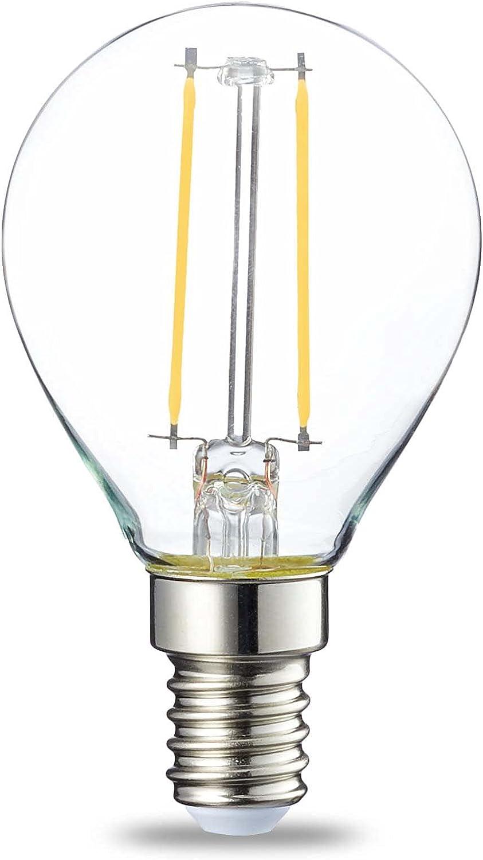 Amazon Basics Bombilla LED E14, P45, 2W (equivalente a 25W), Filamento- 6 unidades