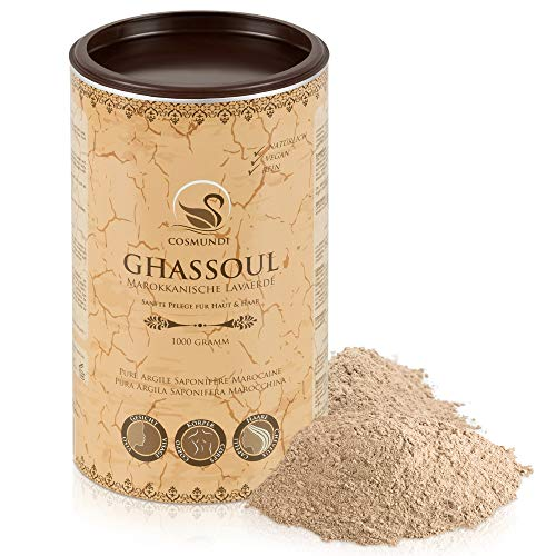 Rhassoul - pure poudre d`argile saponifère marocaine 1 kg - soins naturels pour la peau et les cheveux & masque ou peeling pur corps et visage