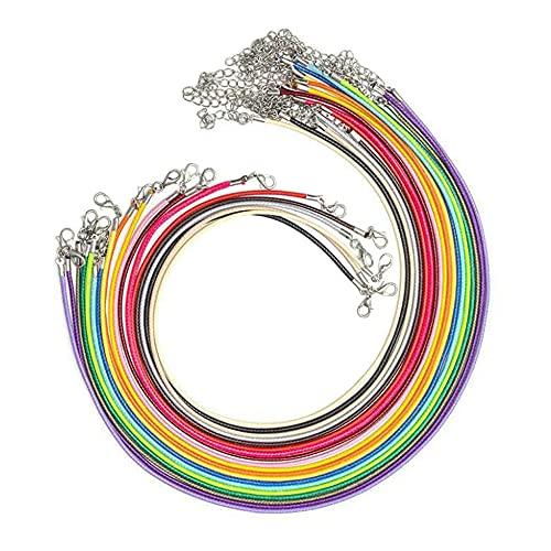 Cisurt Cuerda para Collares 50 Piezas Cordon Collar 2mm Cordon Colgante Cordones De Collar Ajustables De Cuerda De Color Collar con el Corchete Langosta para Joyería que Hace