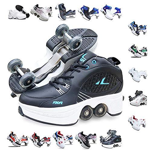 Bueuwe Verstellbare Quad-Rollschuh-Stiefel,Quad Skate Rollschuhe Skating Multifunktionale Deformation Schuhe 2-In-1-Mehrzweckschuhe, Für Kinder Geeignet, Anfänger,H,42 EU