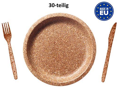BIOTREM Einweggeschirr aus Weizenkleie – Nachhaltiges Starterpack S mit Teller 20cm, Gabel & Messer – 100% biologisch abbaubar – Made in EU – Je 10 Stück