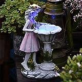 Fairy Solar Lights Outdoor Garden Ornaments, Fairy Solar Water Features for Garden, Angel Solar Powered Garden Water Feature, Angel Statue Figurine for Home Yard Outdoor Decorative (A)
