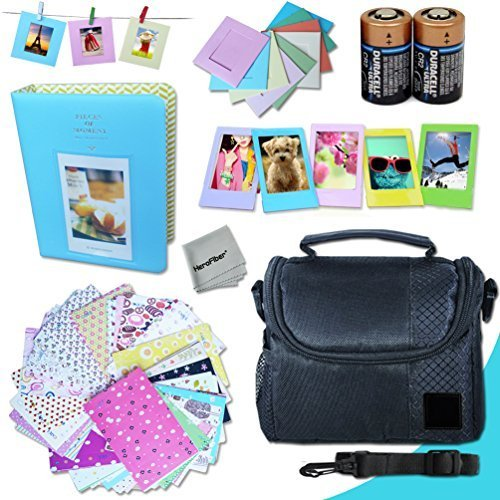 Xtech FujiFilm Instax Mini Accessories Kit f/Fujifilm Instax Mini 25, Instax Mini 25, Mini25, Mini 25 Black, Mini 25 Pink Includes: Assorted Frames + Fitted Case + Album + 2 CR-2 Batteries + More