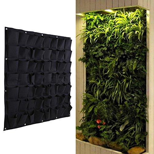 Demiawaking 56 Tasche Vertikale aufhängbare Garten Pflanzwand, Pflanzgefäß für Kräuter, Blumen (56 Tasche)