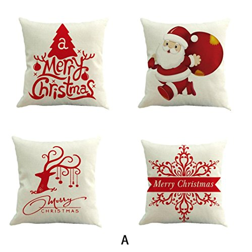 4Pcs Merry Christmas Pillow Cushion Covers Home Decorative Pillow Cases, callm Pillowcase Decoration Cotton Linen Christmas Pillowcase Sofa Waist Cushion Cover Home Decor (B)