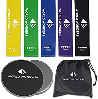 Strength Sliders (2) and Resistance Bands (5) Fitness Equipment by World Wonders   Workout for 80 Day Obsession, Beachbody, Pilates and Yoga   Sculpt Your Upper Body, Booties, and Abs   Gliders Work w