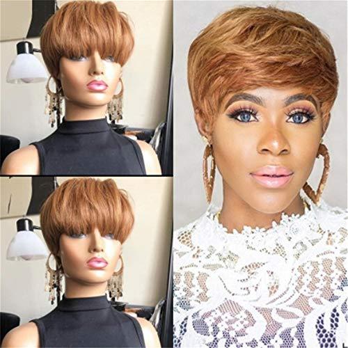 peluca,Peluca de pelo corto marrn dorado de pelo corto y liso para mujeres europeas y americanas, peluca de fibra qumica de seda de alta temperatura