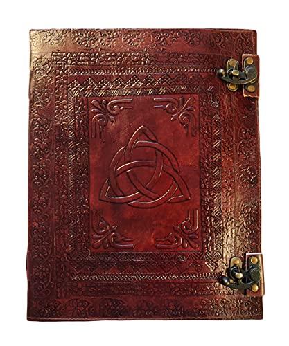 KOoly Zen – Cuaderno de diario, libro, álbumes, scrapbook, trepador, piel auténtica, cierre triquetra, celta, 25 cm x 33 cm, 240 páginas (120 hojas) papel premium