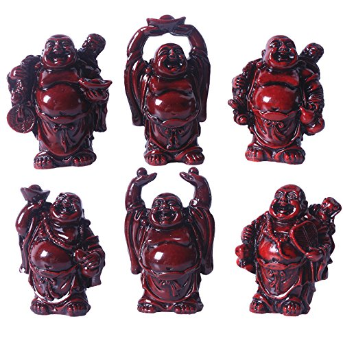 Brass Statu 2.5'' Red Resin Laughing Buddha Figurines Good Gift and Collection Set of 6 (Big red)