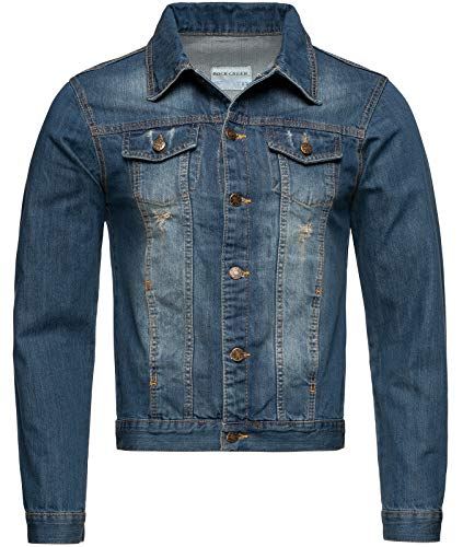 Rock Creek Herren Jeansjacke Denim Übergangsjacke Basic Stretch Jacke Herrenjacke Stonewashed Jeans Freizeitjacke Kentkragen Blau RC-2210 M