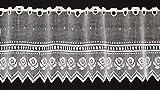 Cortina de media altura croché altura 30 cm | Ancho de la cortina seleccionable por la cantidad comprada en pasos de 20,5 cm | Color: blanco | Cortinas cocina