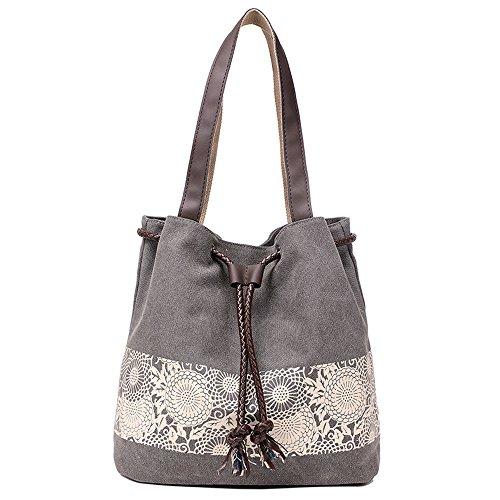 Hiigoo Printing Canvas Shoulder Bag Retro Casual Handbags Messenger Bags (Grey)