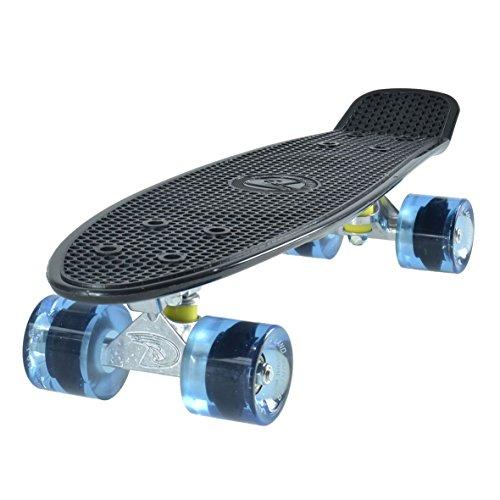 Land Surfer® Retro Cruiser, komplettes Skateboard mit 56-cm-Deck - ABEC-7-Kugellager - Farbige oder durchsichtige PU-Räder (59 mm) + Tragetasche Schwarzes Deck/Blau Klar