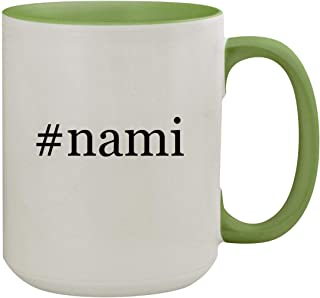 #nami - 15oz Hashtag Ceramic Inner & Handle Colored Coffee Mug, Light Green