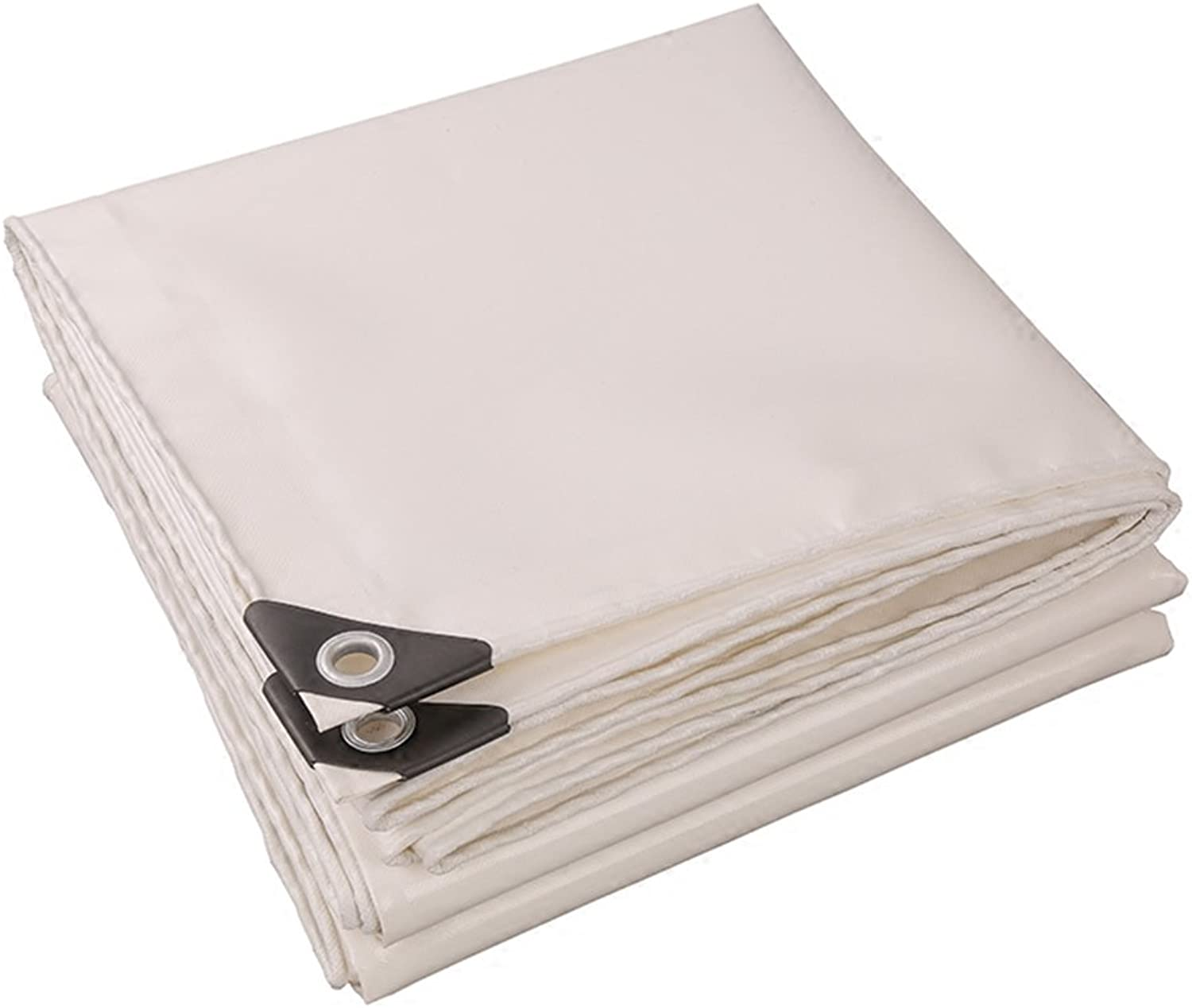 CHAOXIANG Tarpaulin Sheet Foldable Thicken Double-Sided Waterproof Sun Predection Cold-Resistant Wear-Resistant Anti-Corrosion Dust-Proof Lightweight PVC White, 520g m2, Thickness 0.45mm, 19 Sizes