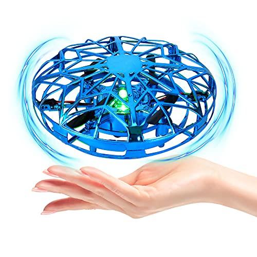 Mini UFO Drone per Bambini e Adulti,UFO Mini Drone,Mini UFO Drone Giocattolo,Mini Quadricottero Motion Hand Controllato Drone,Rotazione di 360° Giocattoli Mano Controllato Interattiva (Blu)