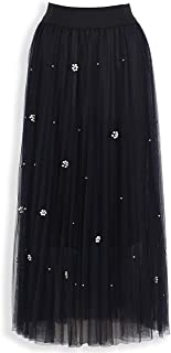 Women's Double Layer Pleated Elastic Waist Long Tulle Maxi Skirt with Beaded Flower