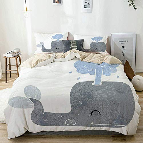 Juego de funda nórdica beige, linda ballena feliz escupiendo agua acuática acuarela Joyful Kid Nursery Baby Theme, juego de cama decorativo de 3 piezas con 2 fundas de almohada fácil cuidado antialérg