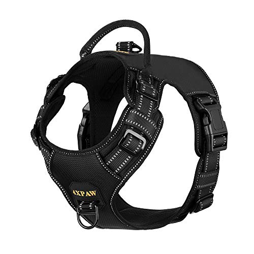 "4XPAW Dog Harness with Padded Handle,Reflective in Night,Nylon Oxford Mesh Soft Padding Lining, No-Pull Metal D Ring,Quick Release Buckle (XL (Chest 22""-37""), Black) …"