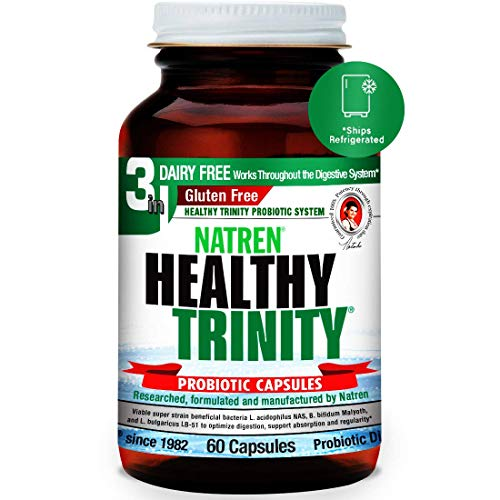 Natren Healthy Trinity Probiotics Supplement - 60 Dairy and Gluten Free Gel Capsules - Improve Gut and Digestive Health, 30 Billion CFU - Lactobacillus Acidophilus, Bifidobacterium, Bulgaricus