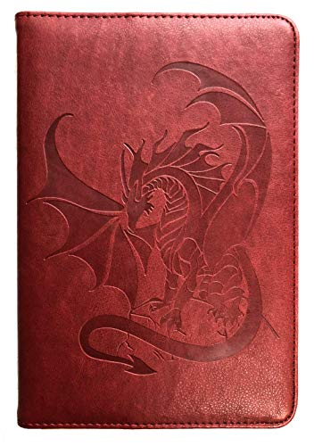 Red Dragon Journal by SohoSpark, Writing Journal, Personal Diary, Lined Journal, Travel, 6x8.75, Writers Notebook, Faux Leather, Refillable, Fountain Pen Safe, Lay Flat Binding
