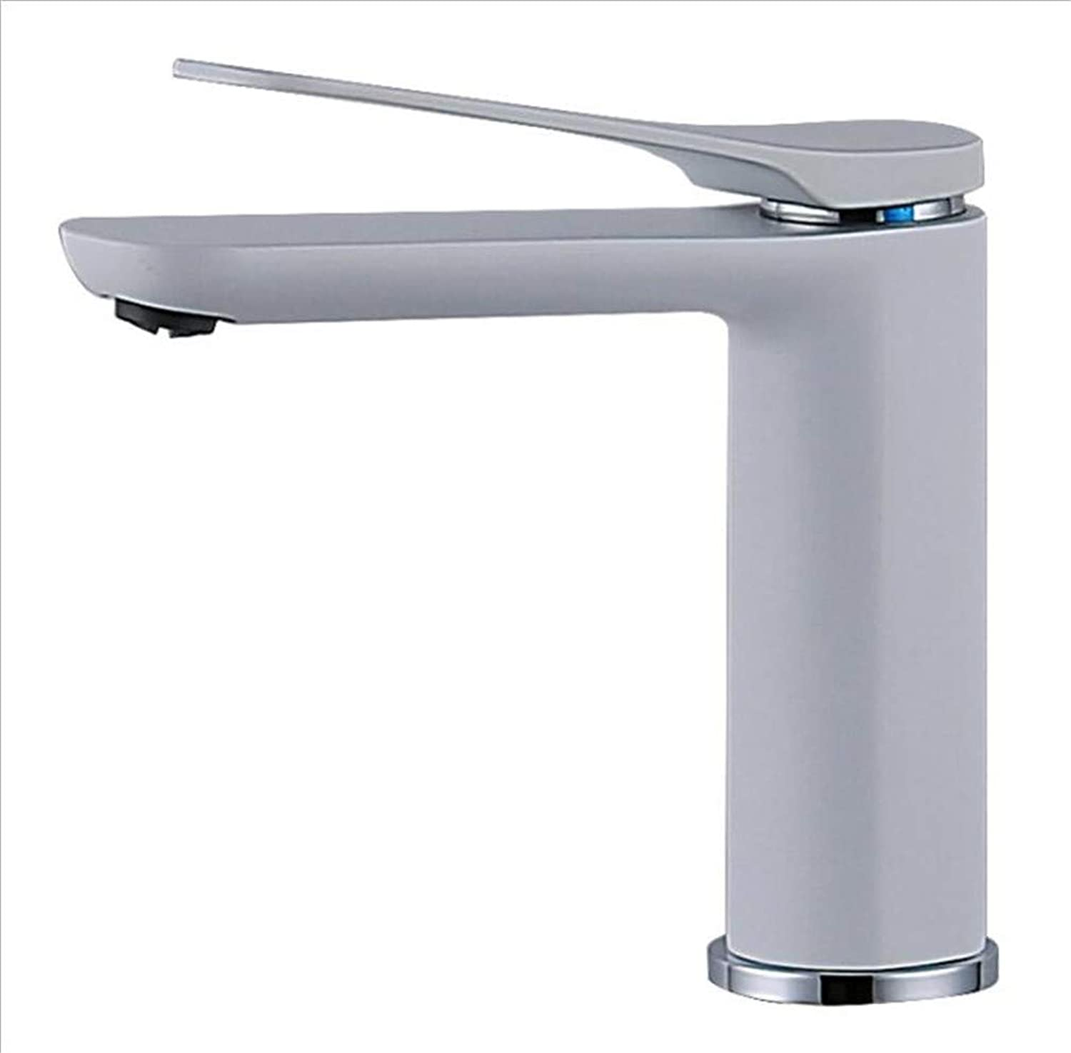 Bathroom Sink Basin Lever Mixer Tap White Baking Paint Single Hole Precision Copper Washbasin Leading Hotel Bathroom Hot and Cold
