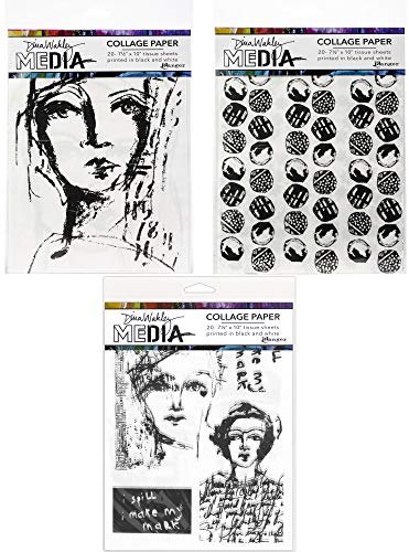 Dina Wakley Media Collage Paper Set - Faces, Backgrounds and Vintage & Sketches - 3 Items