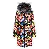 Bravetoshop Women's Mid Length Zipper Jacket Down Winter Warm Thicken Coats with Fur Trim Plush Hood(Black,XXXL)