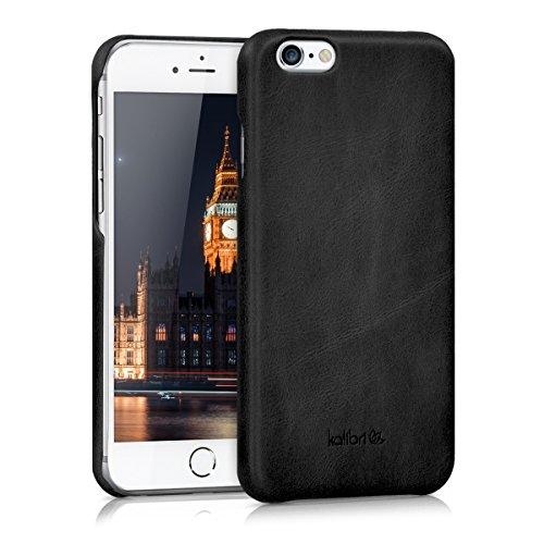 kalibri Hülle kompatibel mit Apple iPhone 6 / 6S - Leder Handy Cover Case - Hardcover Schutzhülle Schwarz