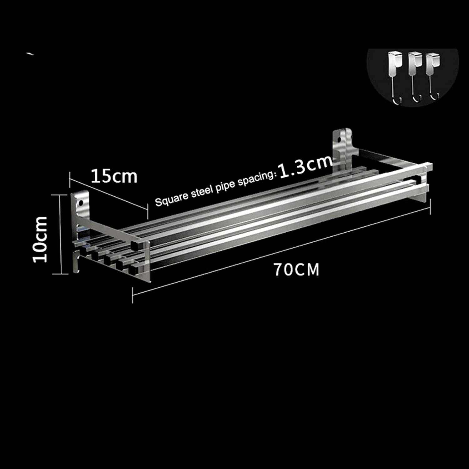 Kitchen Utensils Storage Warehouses 304 Stainless Steel Storage Shelf Wall Shelves with 3 Hooks Shelves -by TIANTA (Size   70CM)